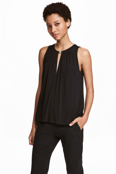 Sleeveless jersey top - Black - Ladies | H&M 1