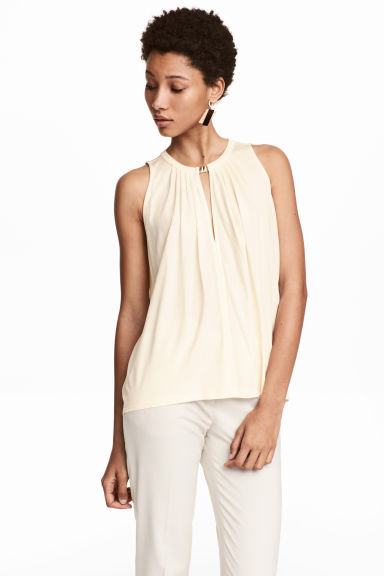 Top in jersey senza maniche - Bianco naturale - DONNA | H&M IT 1
