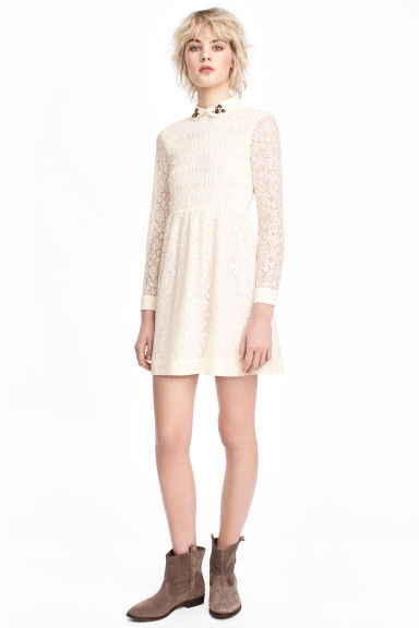 Lace dress - Natural white - Ladies | H&M