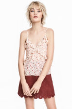 Frilled top - Natural white/Small floral - Ladies | H&M 1