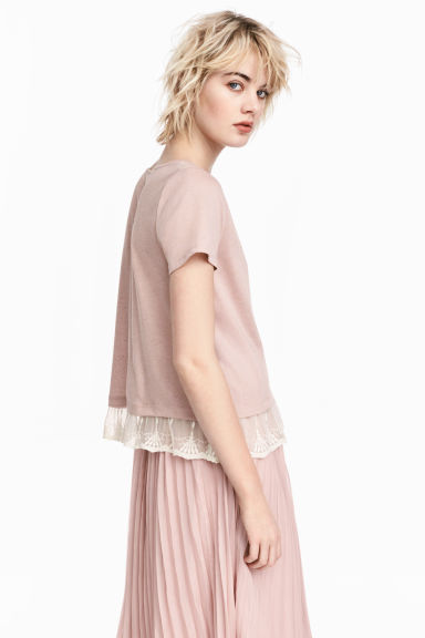 Top with a lace trim - Old rose - Ladies | H&M CN 1