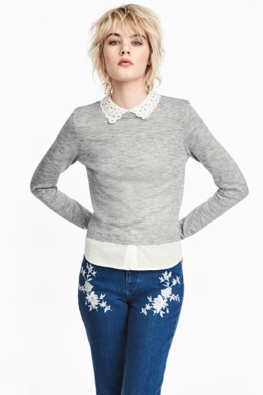 Fine-knit jumper with a collar - Grey marl - Ladies | H&M CN 1