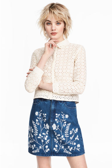 Embroidered cotton blouse - Natural white - Ladies | H&M CN 1