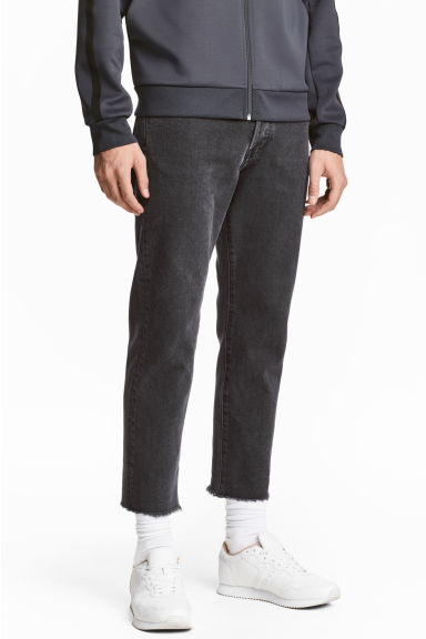 Straight Regular Cropped Jeans - Dark grey denim - Men | H&M CN 1