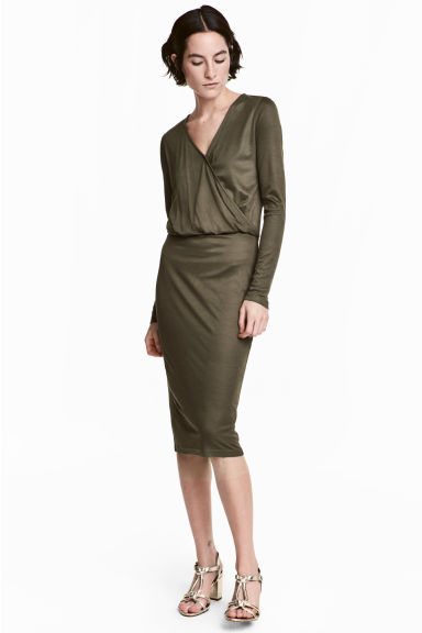 Long-sleeved wrapover dress - Dark khaki green -  | H&M CA 1