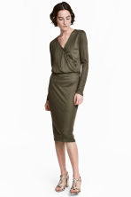 Long-sleeved wrapover dress - Dark khaki green -  | H&M 1