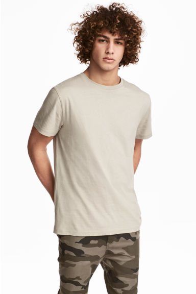 Round-necked T-shirt - Light beige - Men | H&M CN 1