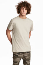 Round-necked T-shirt - Light beige - Men | H&M 1