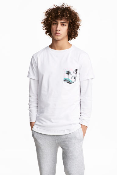 T-shirt with a chest pocket - White - Men | H&M