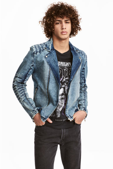 Denim biker jacket - Denim blue - Men | H&M CN 1