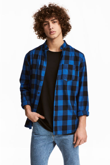 Camicia in flanella a quadri - Blu/nero - UOMO | H&M IT 1