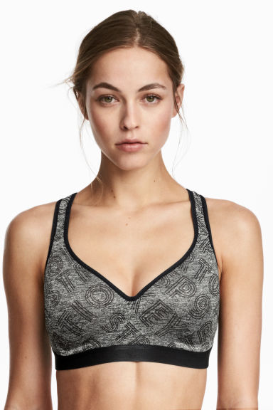 Push-up sports bra - Dark grey marl - Ladies | H&M 1