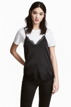 Satin strappy top - Black -  | H&M GB 2