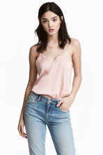 Satin strappy top - Light pink - Ladies | H&M 2