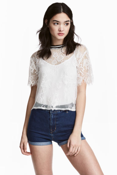 Lace top - White - Ladies | H&M 1