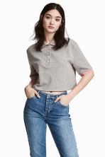 短版網眼Polo衫 - Grey marl - Ladies | H&M 1