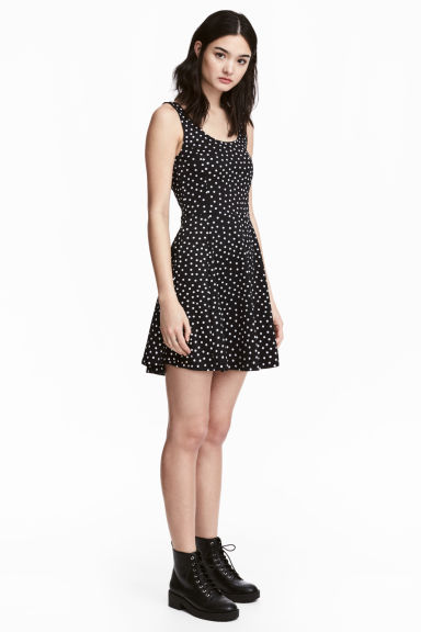 Jersey dress - Black/Spotted - Ladies | H&M CN 1