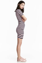 Ribbed jersey dress - Pink/Striped - Ladies | H&M CN 1