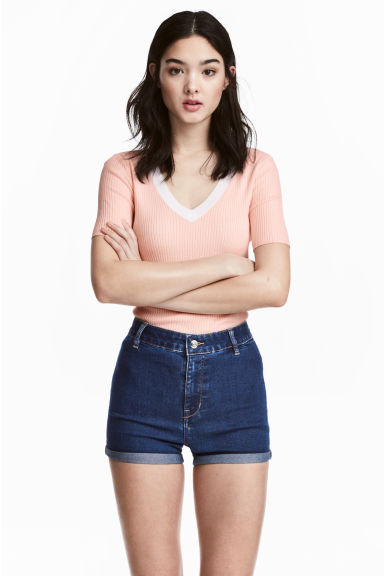 V-neck short-sleeved jumper - Light apricot - Ladies | H&M CN 1