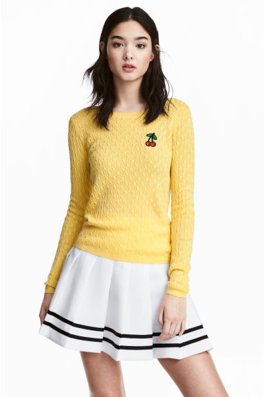 Cable-knit jumper - Yellow - Ladies | H&M