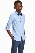 Shirt with tie/bow tie - Light blue -  | H&M 1