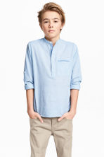 Cotton shirt - Light blue marl -  | H&M 1