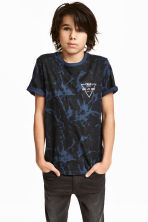 Printed T-shirt - Black/Blue -  | H&M CN 1