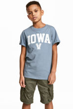 Printed T-shirt - Blue-grey - Kids | H&M CN 1