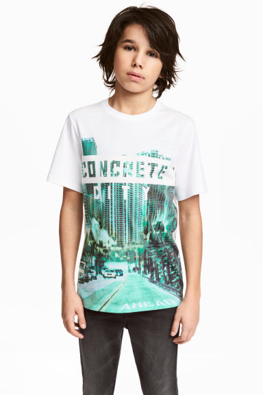 Printed T-shirt - White/City -  | H&M CN 1