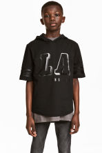 Hooded T-shirt - Black/Los Angeles - Kids | H&M CN 1
