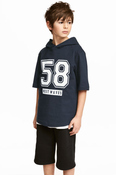 Hooded T-shirt - Dark blue -  | H&M 1