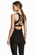 Sports top with sports bra - Black marl - Ladies | H&M CN 1