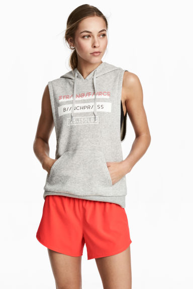 Sleeveless hooded top - Light grey marl - Ladies | H&M CN