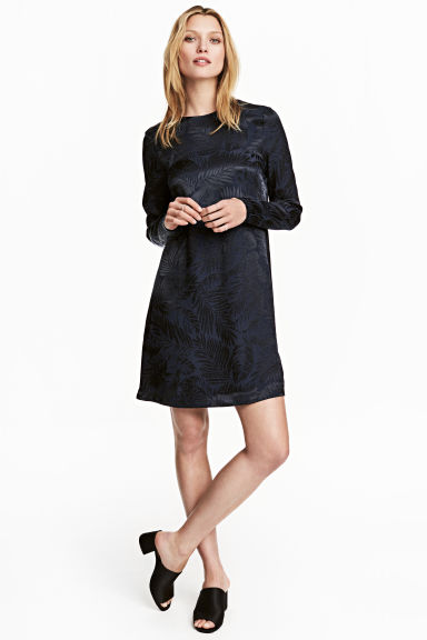 Jacquard-weave dress - Dark blue/Patterned -  | H&M 1