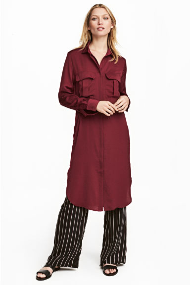 Satin shirt dress - Burgundy - Ladies | H&M CN 1