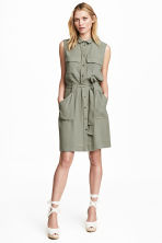 Sleeveless shirt dress - Light khaki - Ladies | H&M CN 1