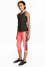 3/4-length sports tights - Coral pink - Kids | H&M 1