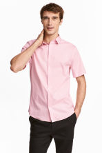 Short-sleeved stretch shirt - Light pink - Men | H&M CN 1