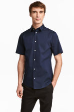 Short-sleeved stretch shirt - Dark blue - Men | H&M CN 1