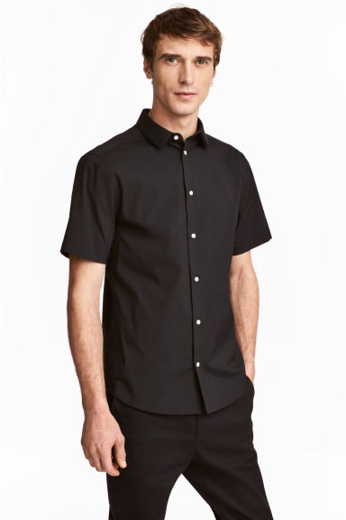 Short-sleeved stretch shirt - Black - Men | H&M CN 1