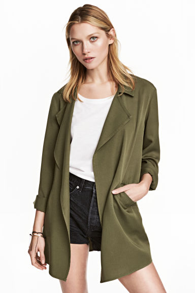 Lyocell jacket - Khaki green - Ladies | H&M CN