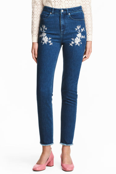 Embroidered jeans - Dark denim blue - Ladies | H&M 1