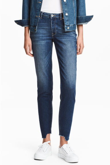 Straight Cropped Jeans - ダークデニムブルー - Ladies | H&M JP