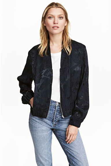 Jacquard-weave jacket - Dark blue/Patterned - Ladies | H&M CA 1