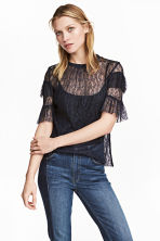 Lace blouse - Dark blue - Ladies | H&M CN 1