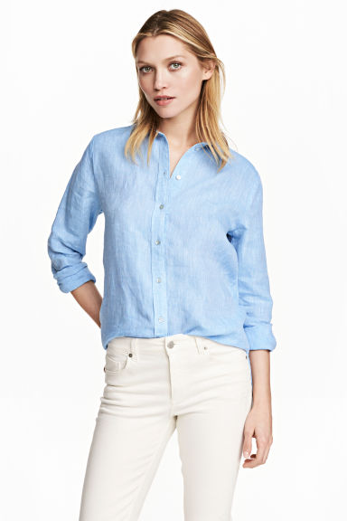 Linen shirt - Blue - Ladies | H&M CN 1