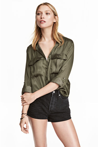 Utility shirt - Khaki green - Ladies | H&M CN 1