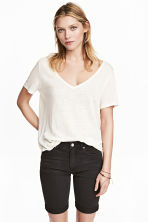 Linen V-neck top - White marl - Ladies | H&M CN 2