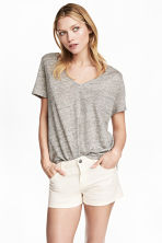Linen V-neck top - Grey marl -  | H&M CN 1