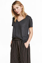 Linen V-neck top - Dark grey marl -  | H&M 2